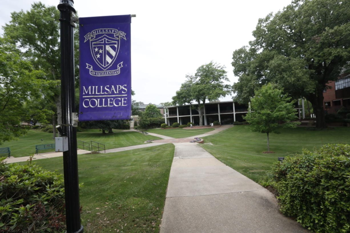 A normally student filled campus square at Millsaps College in Jackson, Miss., is deserted in face of the coronavirus, as the liberal arts school, like many others, faces financial and enrollment challenges Friday, April 3, 2020. At present, the school has switched to on-line teaching. Colleges across the nation are scrambling to close deep budget holes and some have been pushed to the brink of collapse after the coronavirus outbreak triggered a series of financial losses (AP Photo/Rogelio V.