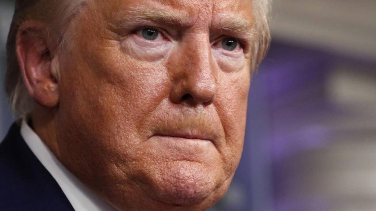President Donald Trump speaks about the coronavirus in the James Brady Press Briefing Room of the White House, Monday, April 6, 2020, in Washington.