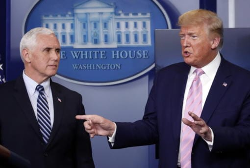 President Donald Trump speaks about the coronavirus in the James Brady Press Briefing Room of the White House, Wednesday, April 1, 2020, in Washington, as Vice President Mike Pence listens. Trump's diverging viewpoints on the coronavirus and China have generated finger-pointing by both Beijing and Washington, and that is further destabilizing a critical relationship between countries with the world's two largest economies and militaries.