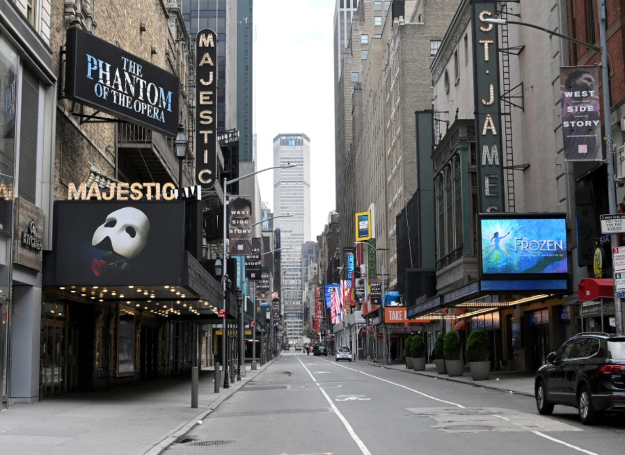 Closed Broadway theaters during the coronavirus pandemic on April 8 in New York City.