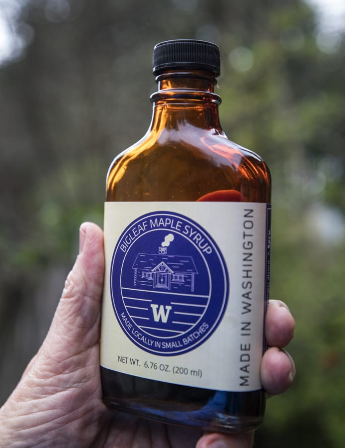 A bottle of maple syrup produced from big leaf maple tree's at UW's Center for Sustainable Forestry at the Pack Forest near Eatonville, Washington on Monday, Feb. 24, 2020.