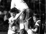 Mountain View's Doug Wolvert, top, and his team celebrate a goal during the 1992 season.