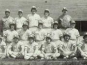 The 1980 Evergreen High School baseball team included (top row, L-R) coach Greg Wallace, Doug Houser, Brian Bergerud, John Michel, coach Jeff Hudson; (middle row) Mike Wade, John Robison, Gary Lundberg, Monte Speyer, Randy Myers; (front row) Ed Taylor, Mark O'Shea, Randy Krause, Steve Lauritzen, Tony Dente, Bob Allinger.