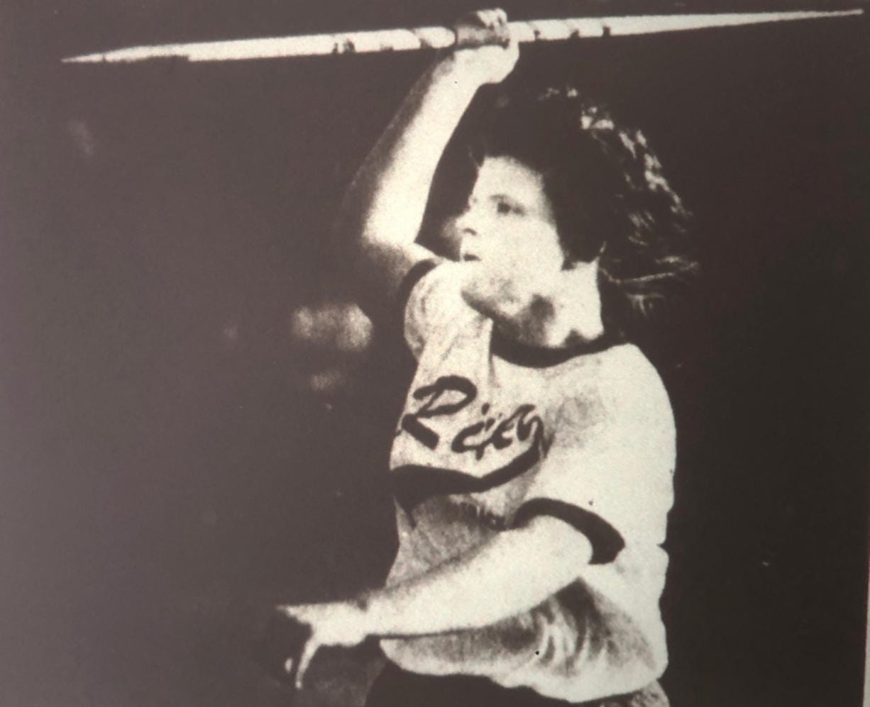 Columbia River's Tracey McCarthey capped off her amazing prep career with her third state javelin title on May 27, 1983.