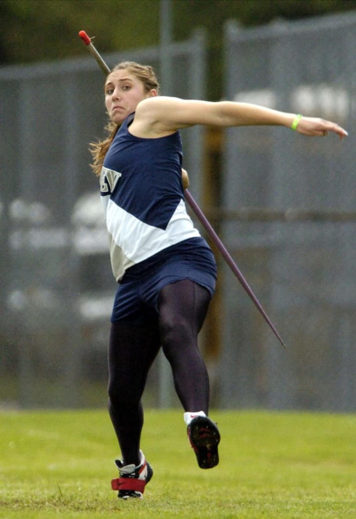 Kara Patterson of Skyview High School won the javelin with a throw of 137 feet, 9 inches at the Southwest Washington District 4 track and field meet at Lincoln Bowl in Tacoma. The victory also qualified Patterson for the state track and field meet next weekend.
