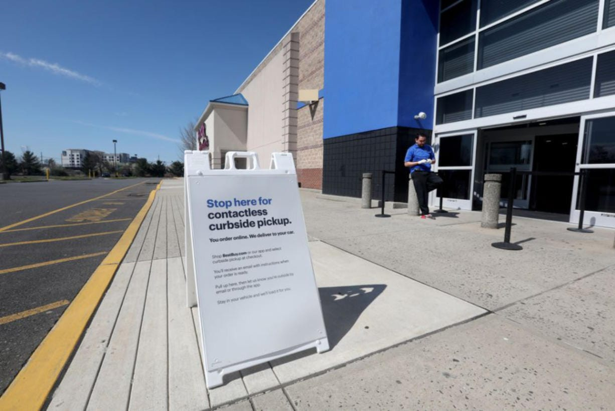 The Best Buy in Bridgewater is open for contactless service where shoppers can walk up to the door and workers will get the product or you can drive up and the product will be put in your car in Bridgewater, N.J.