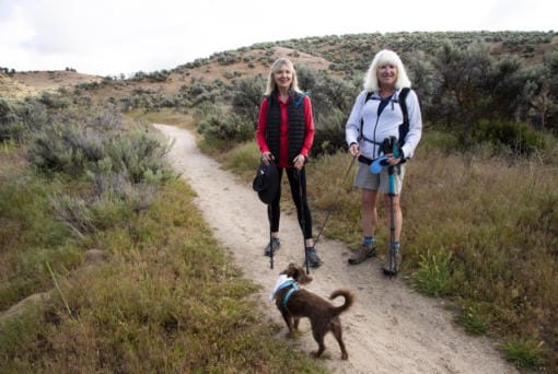 Angie Diggs, left, and Blythe Fortin are two grandmothers in their 60s who are hiking the entire Ridge to Rivers trail system in Idaho to stay busy during the coronavirus pandemic while they can't visit their families.