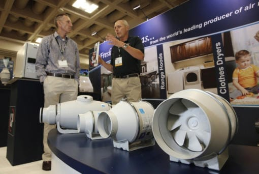Products from S&P USA Ventilation Systems at the PCBC home show at the Moscone Center in San Francisco on June 25, 2014.
