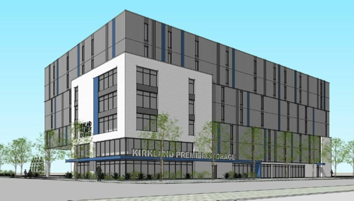A concept rendering submitted to the city shows the planned self-storage project with the Phase 1 portion of the building completed, as seen from the intersection of West Seventh and Jefferson streets. Phase 2 would add a second section of the building on the north side.