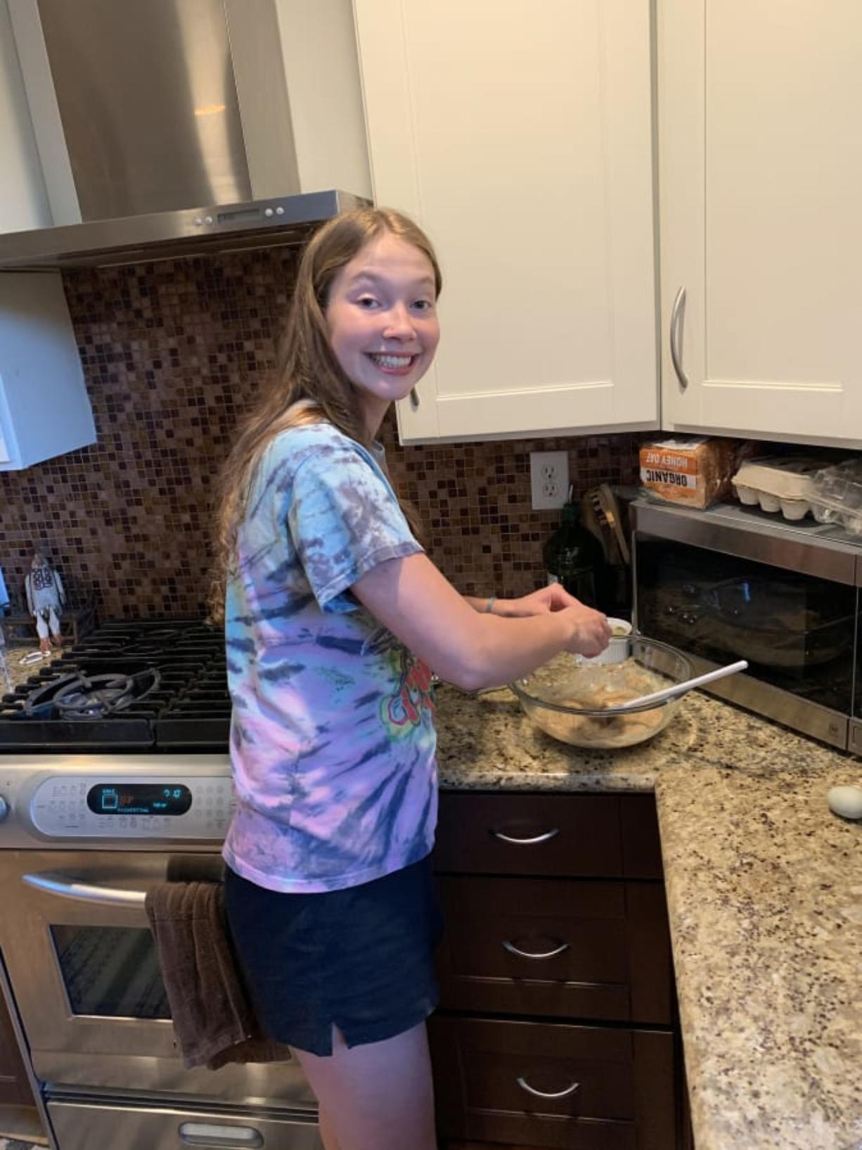 Washougal High School student Samantha Mederos learns culinary arts remotely.