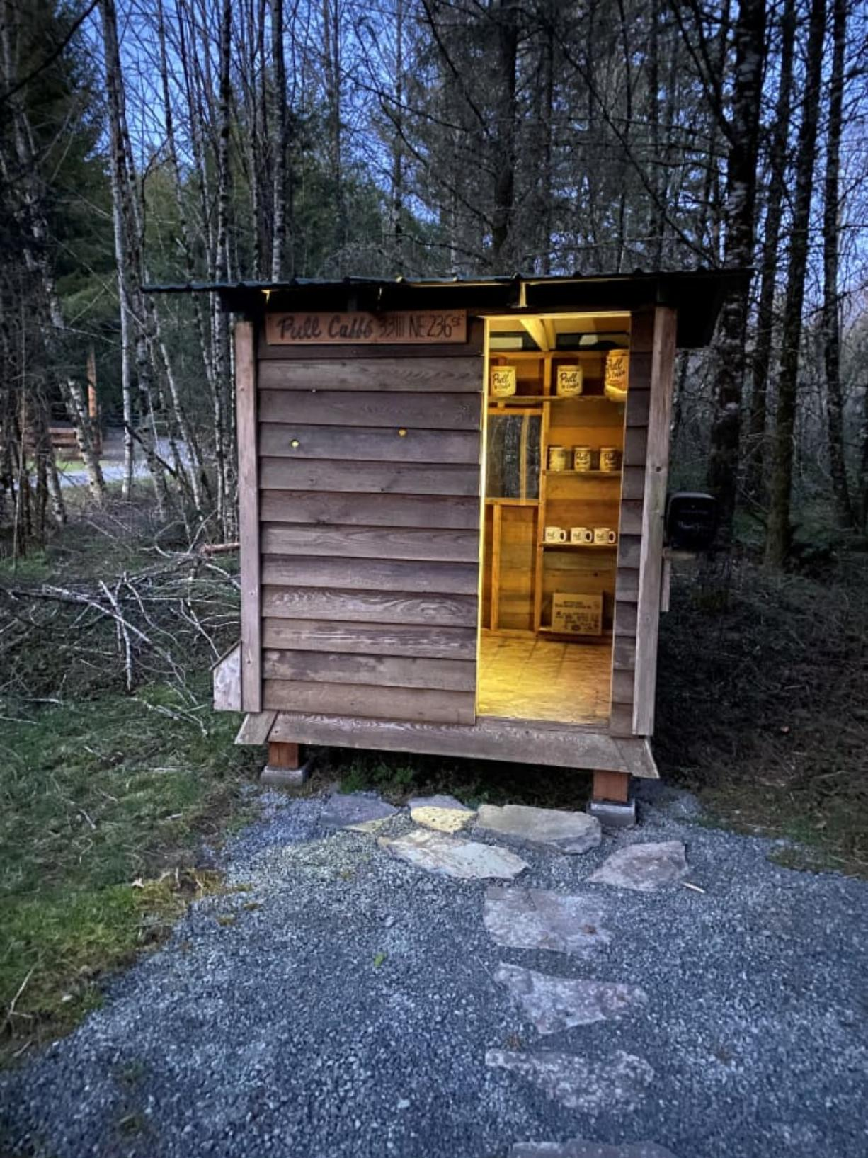 Pull Caffe has been selling coffee out of a small cabin-like structure at the entrance of its property in Yacolt. Buyers pay through an honor system.