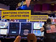 Sanitizing stations are available for guests as they test their luck at ilani Casino Resort on Thursday morning, May 28, 2020.