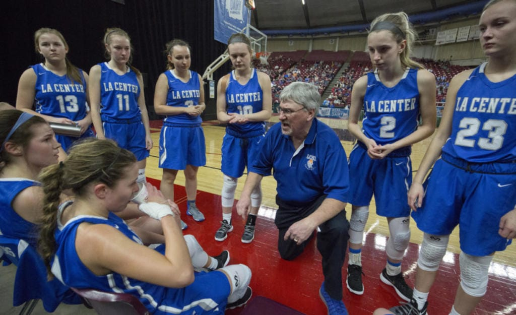Coach Herm VanWeerdhuizen coached five sports over 30 years at La Center, including two stints as girls basketball coach.