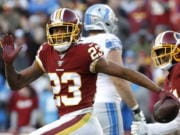 Former Washington Redskins cornerback Quinton Dunbar (23), now a member of the Seattle Seahawks, has an arrest warrant out on Thursday, May 14, 2020, for armed robbery in Florida.