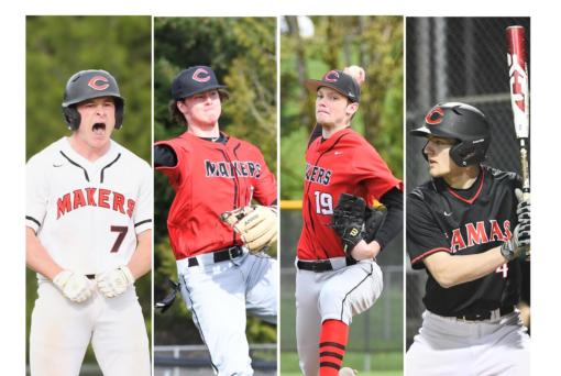 From left, Tyler Forner, Kolby Broadbent, Riley Sinclair and Gideon Malychewski are all members of the 2020 Camas High School baseball team who played on the 2015 Camas-Washougal Babe Ruth team that advanced to the World Series (Photos courtesy of Kris Cavin)