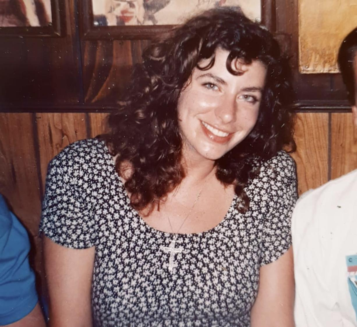 This photo provided by Tara Reade, shows Tara Reade out with friends in Washington, in 1992 or 1993, during the time she worked for then- Sen. Joe Biden, D-Del.
