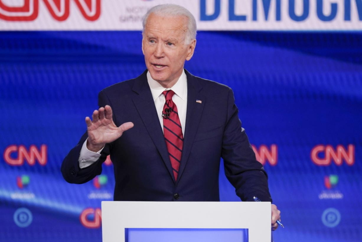 FILE - In this Sunday, March 15, 2020, file photo, former Vice President Joe Biden participates in a Democratic presidential primary debate at CNN Studios in Washington. Biden won Oregon's Democratic presidential primary, outpacing Vermont Sen. Bernie Sanders and Massachusetts Sen. Elizabeth Warren, who both suspended their campaigns earlier in the year.