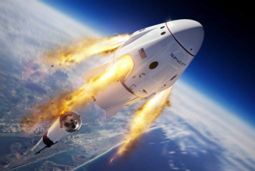 This is SpaceX's Crew Dragon capsule and Falcon 9 rocket during the uncrewed In-Flight Abort Test for NASA's Commercial Crew Program. (SpaceX)