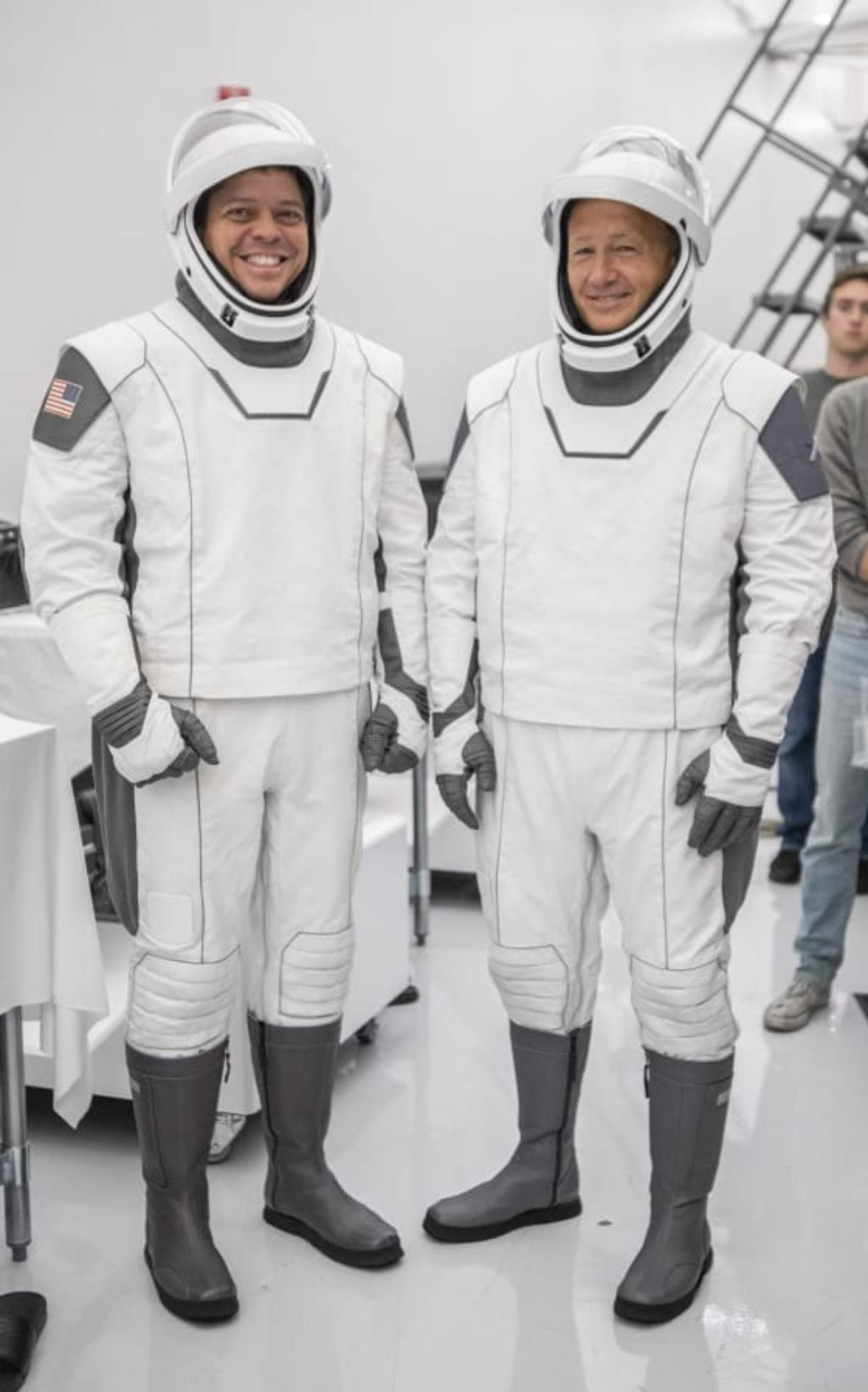 Astronauts Bob Behnken, left, and Doug Hurley in Hawthorne, Calif., during a joint training event between NASA and SpaceX in July.