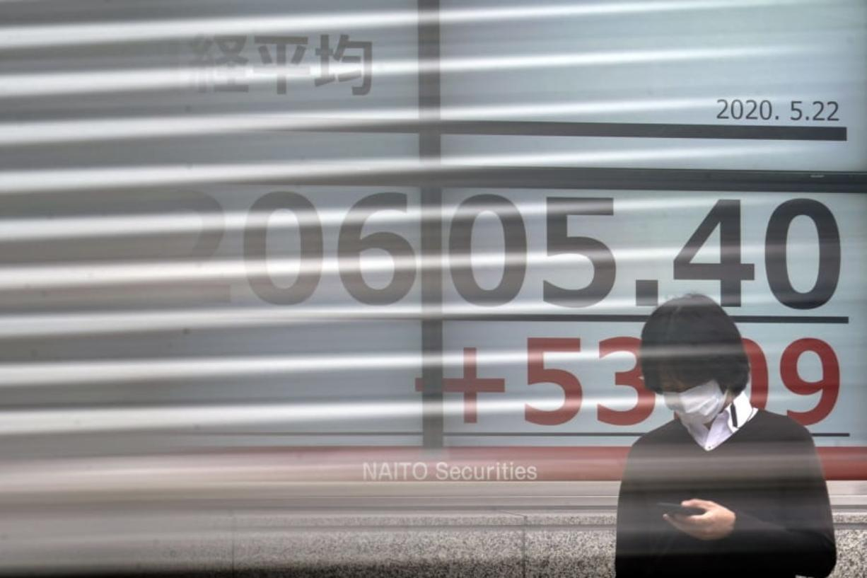 A man stands in front of an electronic stock board showing Japan's Nikkei 225 index as a track goes by at a securities firm in Tokyo Friday, May 22, 2020. Shares are slipping in Asia as tensions flare between the U.S. and China and as more job losses add to the economic fallout from the coronavirus pandemic.