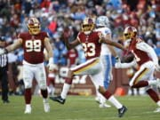 Former Washington Redskins cornerback Quinton Dunbar (23) got his wish when he asked out of Washington and was traded to Seattle during the offseason. Now he also has to face an arrest warrant.