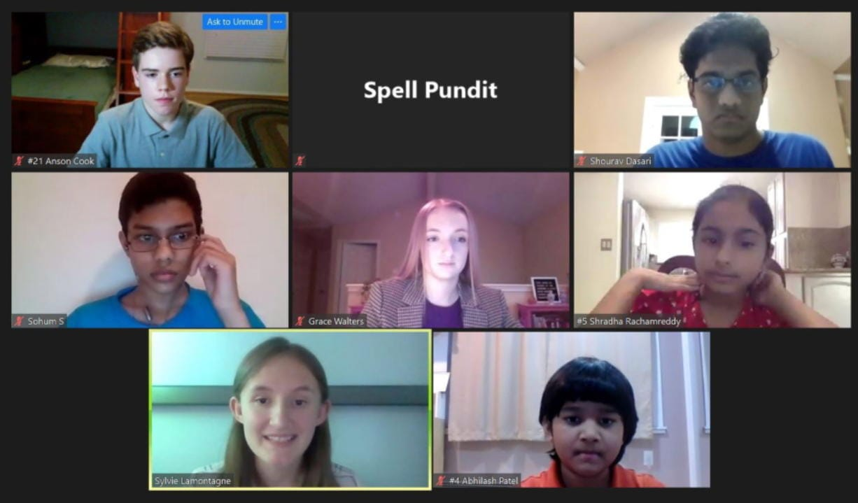 In this screenshot provided by SpellPundit, spellers and organizers of the SpellPundit Online National Spelling Bee participate in semifinals Tuesday night, May 26, 2020. The bee was launched after the Scripps National Spelling Bee was canceled because of the coronavirus pandemic.