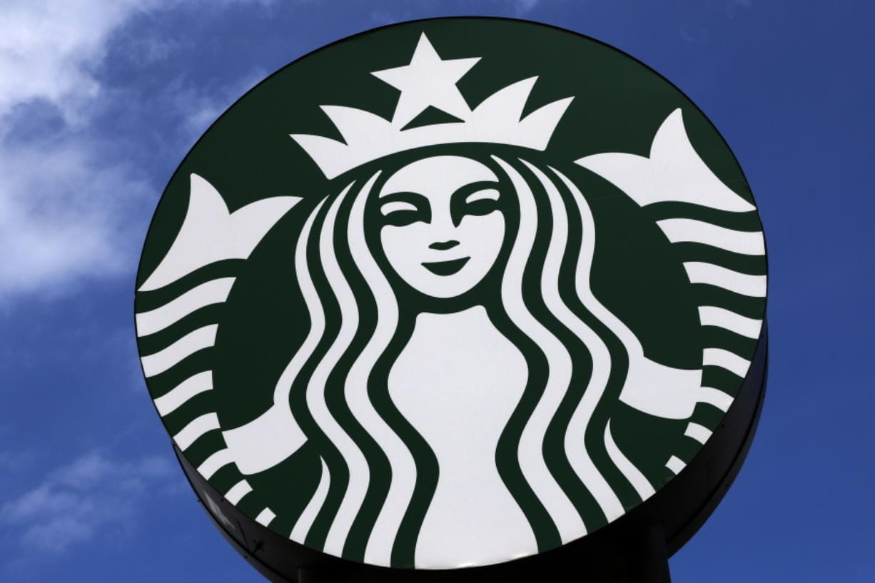 This is the sign outside a Starbucks in Robinson Township, Pa, on Thursday, May 7, 2020. (AP Photo/Gene J.