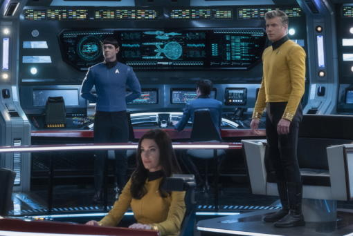 "Ethan Peck as Spock, from left, Rebecca Romijn as Number One, and Anson Mount as Captain Pike of the CBS All Access series ""Star Trek: Strange New Worlds."" (Michael Gibson/CBS)"