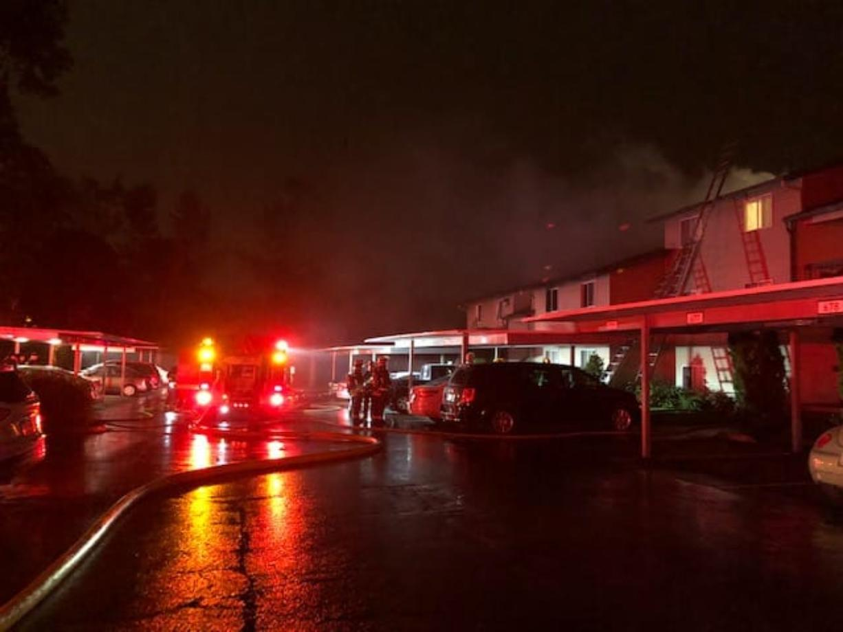 A two-alarm fire damaged an apartment building late Saturday at 900 S.E. Park Crest Drive in Vancouver, displacing more than 25 people.