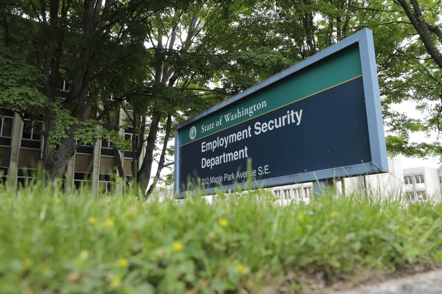 This photo shows a sign at the headquarters for Washington state's Employment Security Department Tuesday, May 26, 2020, at the Capitol in Olympia. (AP Photo/Ted S.