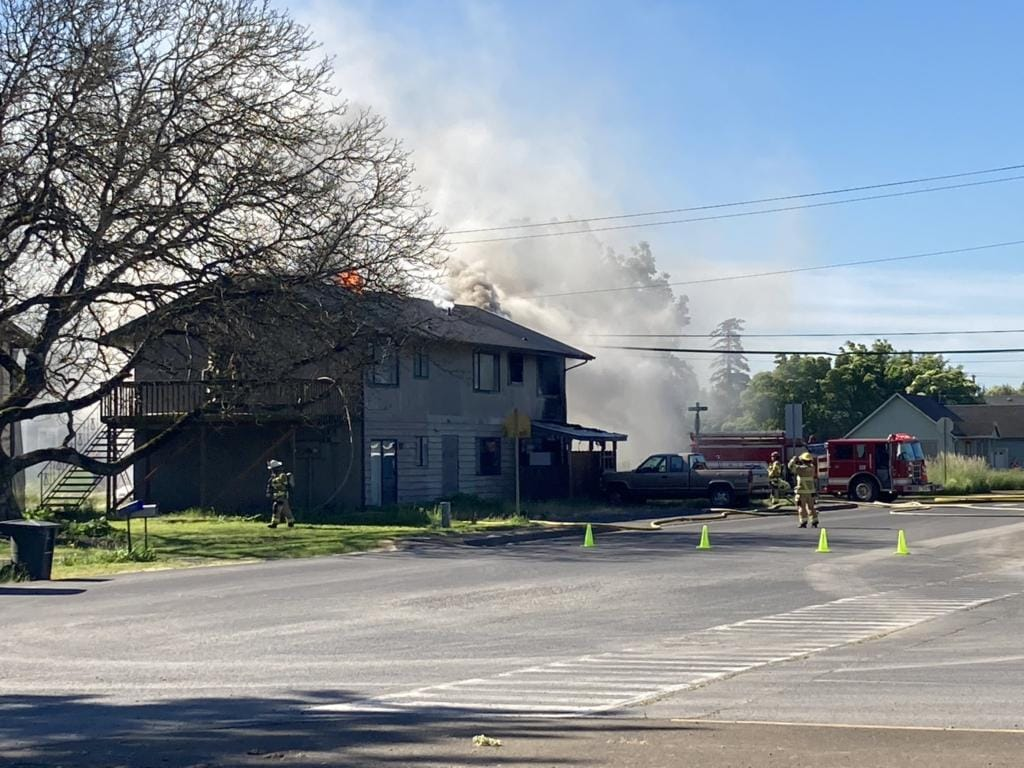 Clark County Fire & Rescue crews were dispatched at 9:01 a.m. to 560 Bozarth Ave. for the report of a multi-residential structure fire. The apartment building is in Cowlitz County.