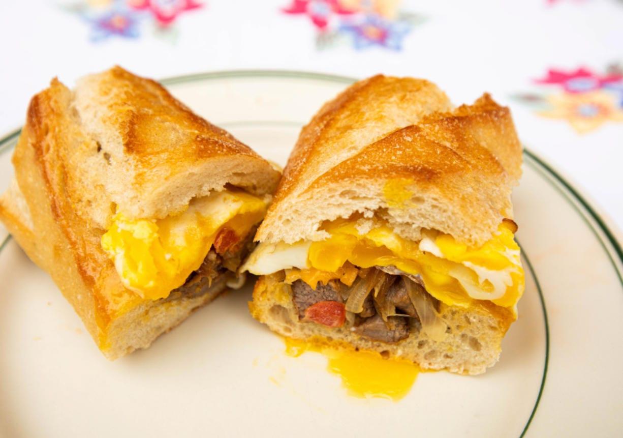 A steak 'n' egg baguette is one sandwich idea for breakfast in the morning. (Rachel Ellis/St.