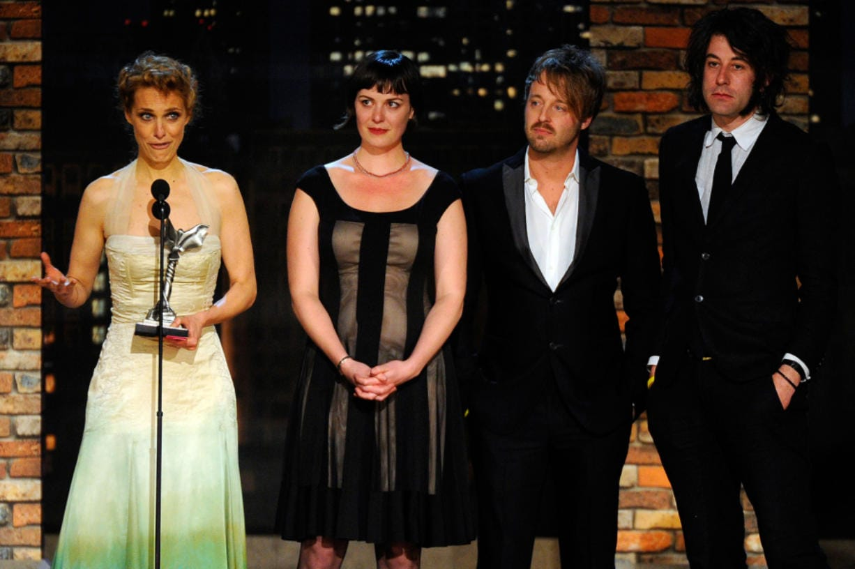"""(From left) Director Lynn Shelton actors Joshua Leonard and Alycia Delmore and cinematographer Benjamin Kasulke accept the John Cassavetes Award for """"Humpday"""" onstage during the 25th Film Independent's Spirit Awards held at Nokia Event Deck at L.A. Live on March 5, 2010 in Los Angeles, California."""