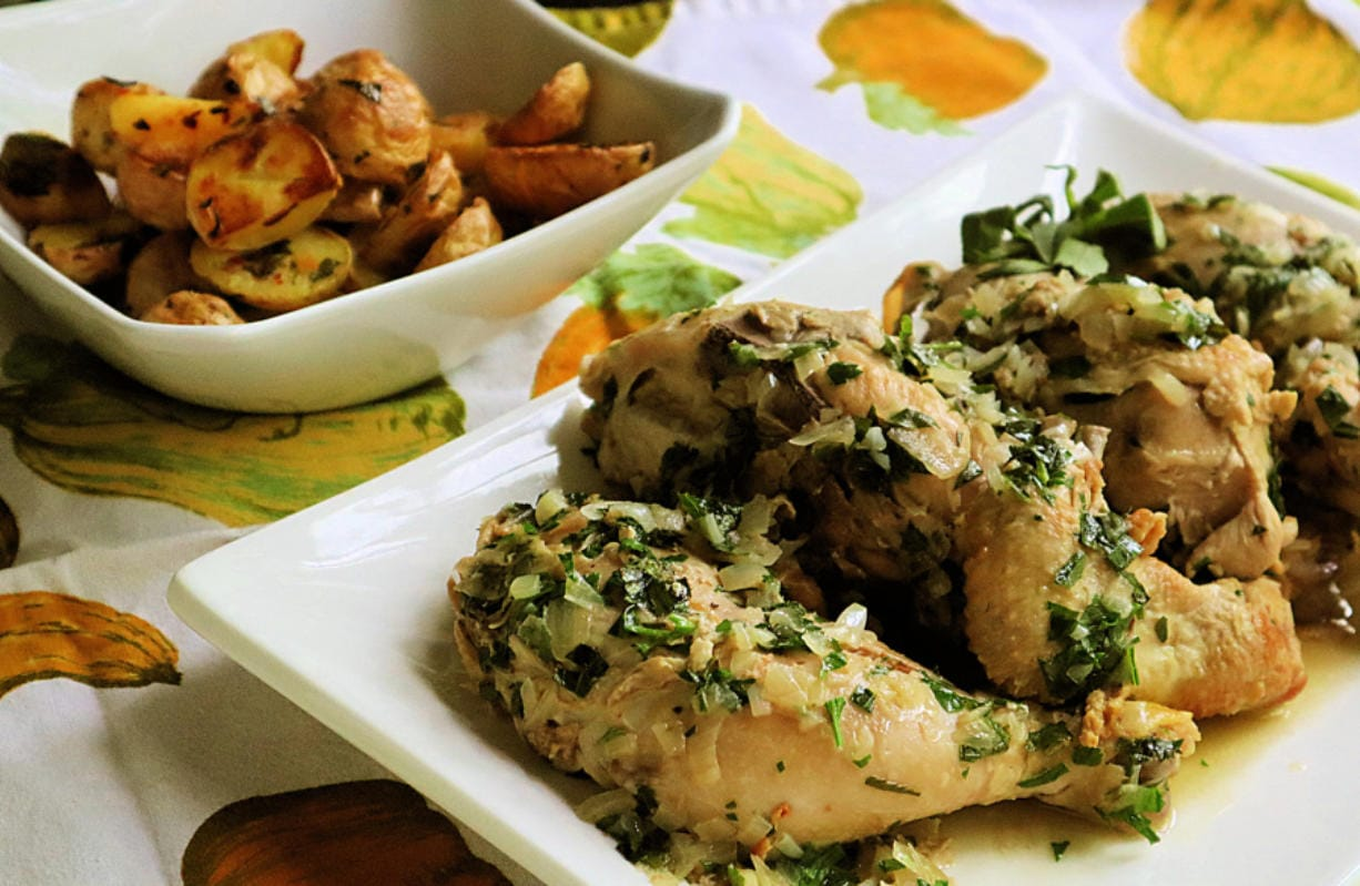 Tarragon, a leafy green herb widely used in French cuisine, pairs especially well with chicken.