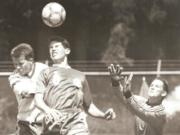 Mountain View's Damien Schilling (8) heads the ball for a goal in the Thunder's win over North Thurston during the 1993 Class AAA state playoffs on May 15, 1993.