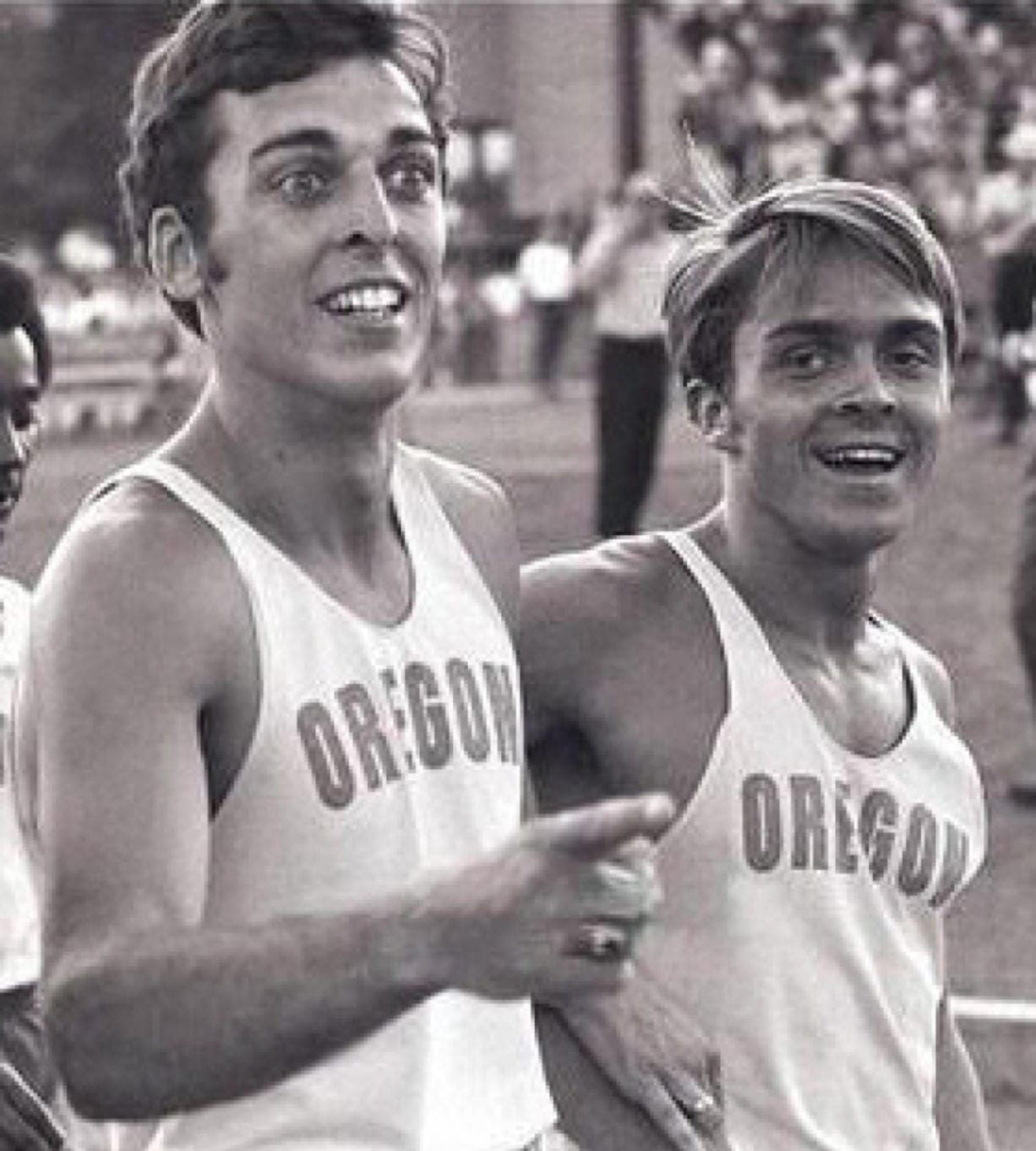 Rosoe Devine, left, with Steve Prefontaine at the Oregon Twilight meet in 1970 at Hayward Field.