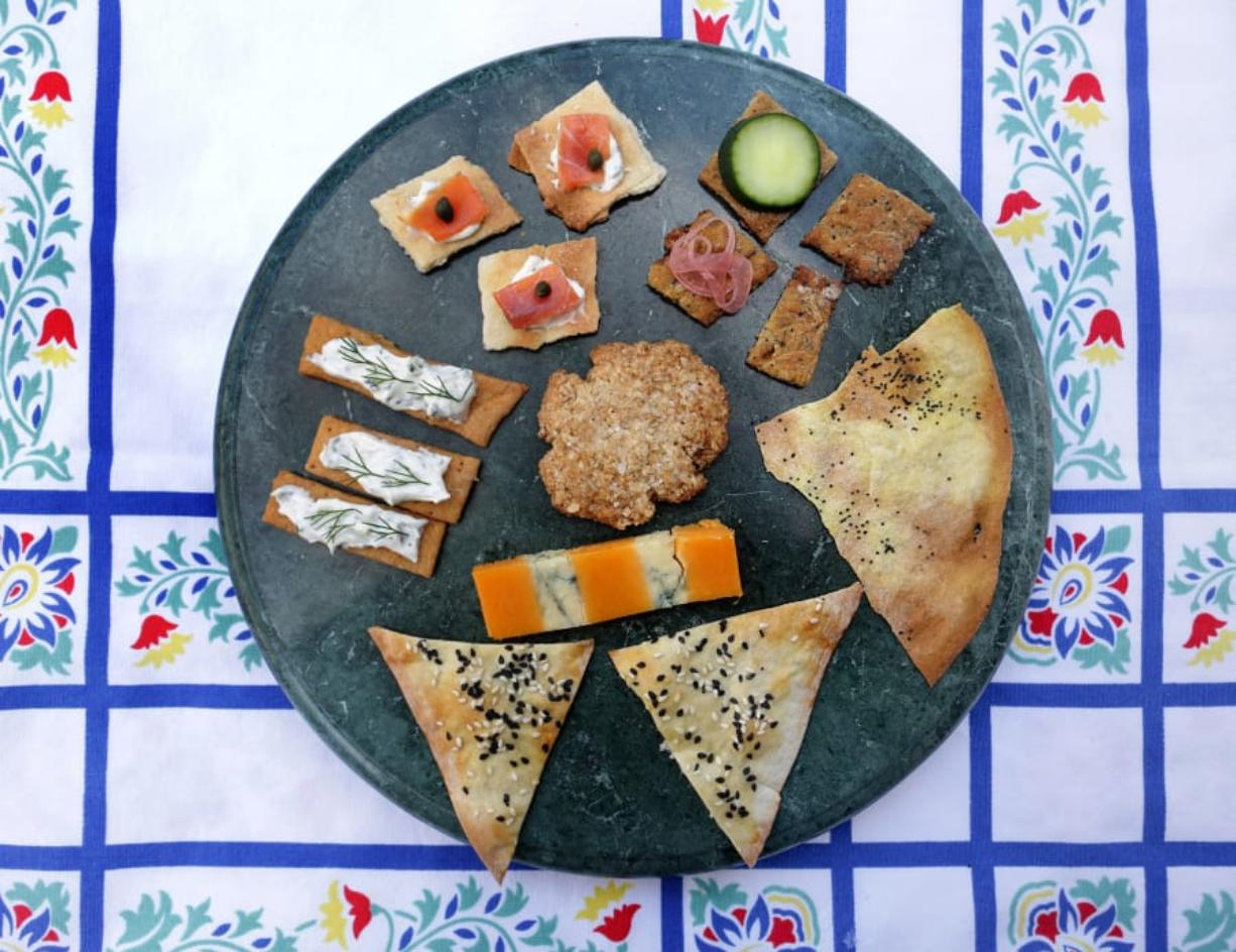 Homemade crackers can be served with an assortment of toppings. (Hillary Levin/St.