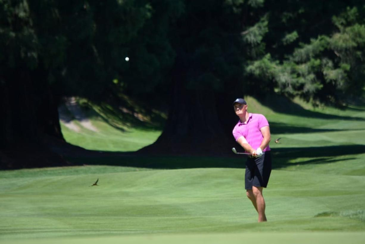 Boise State golfer Brian Humphreys, a Camas High School graduate, hits a shot at Columbia Edgewater Country Club in Portland during play Thursday in the Oregon Amateur. Humphreys was eliminated from the tournament in the round of 32, losing on a 19th hole.