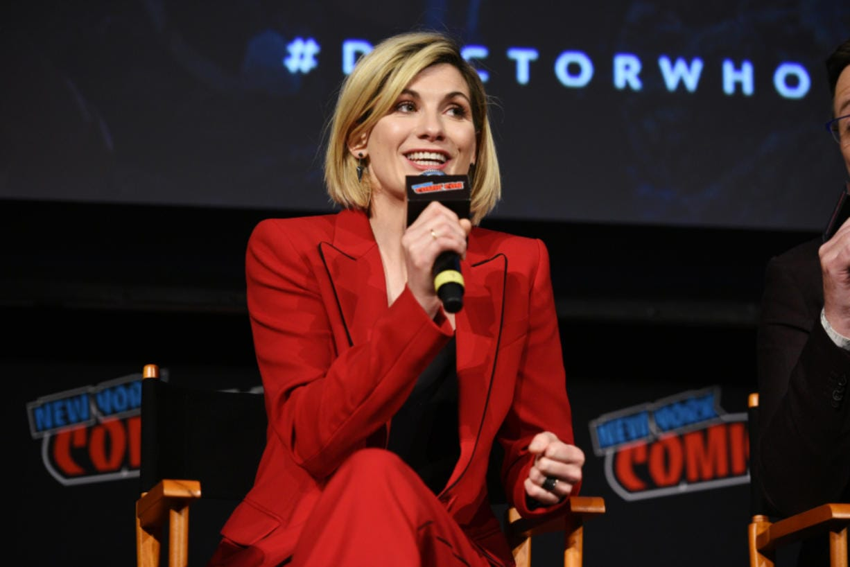 "Jodie Whittaker speaks onstage at the 'Doctor Who"" panel during New York Comic Con in The Hulu Theater at Madison Square Garden in 2018 in New York City."
