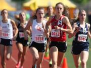 Camas's Alexa Efraimson leads the pack of runners at the 2014 state track meet in Tacoma.
