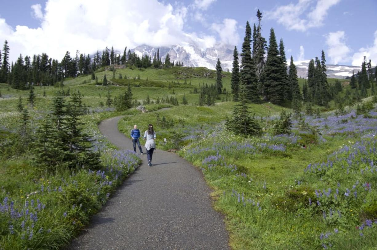 A couple hikes in Mt. Rainier National Park near Seattle. Spending time outside can help prevent the development of seasonal affective disorder down the road.