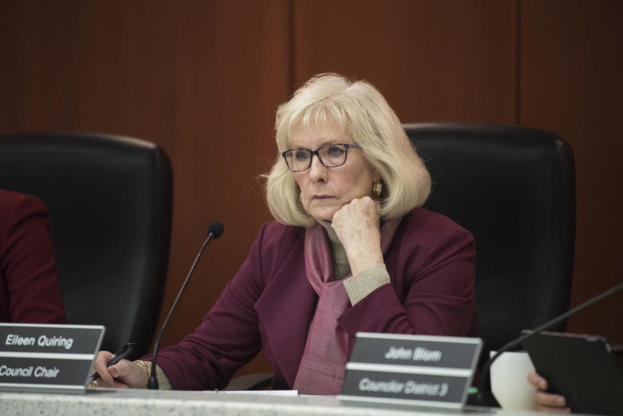Clark County Council Chair Eileen Quiring listens during a council meeting in 2019.