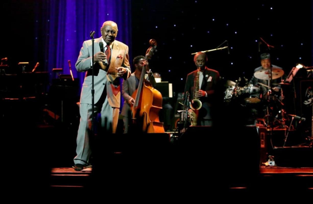 Freddy Cole performs onstage in 2015 during the Thelonious Monk Institute International Jazz Vocals Competition 2015 at Dolby Theatre in Hollywood, Calif. Cole died Saturday. He was 88.