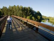 The Washougal River Greenway trail, featuring this wide bridge across the Washougal River.