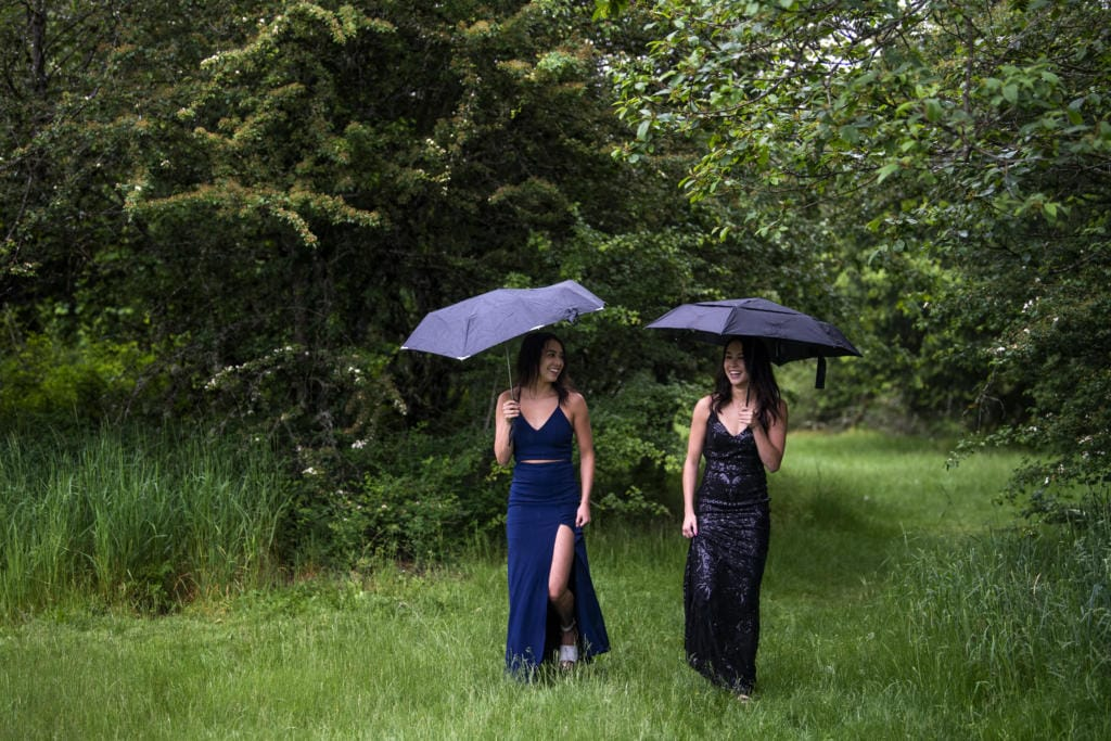 Twins Lauryn and Ashtyn Lopez had their own prom — with Lauryn in black and Ashtyn in blue — in their backyard with their boyfriends and families. Lauryn plans to attend Boise State University to study psychology and business and Ashtyn plans to attend the University of Hawaii to study kinesiology.