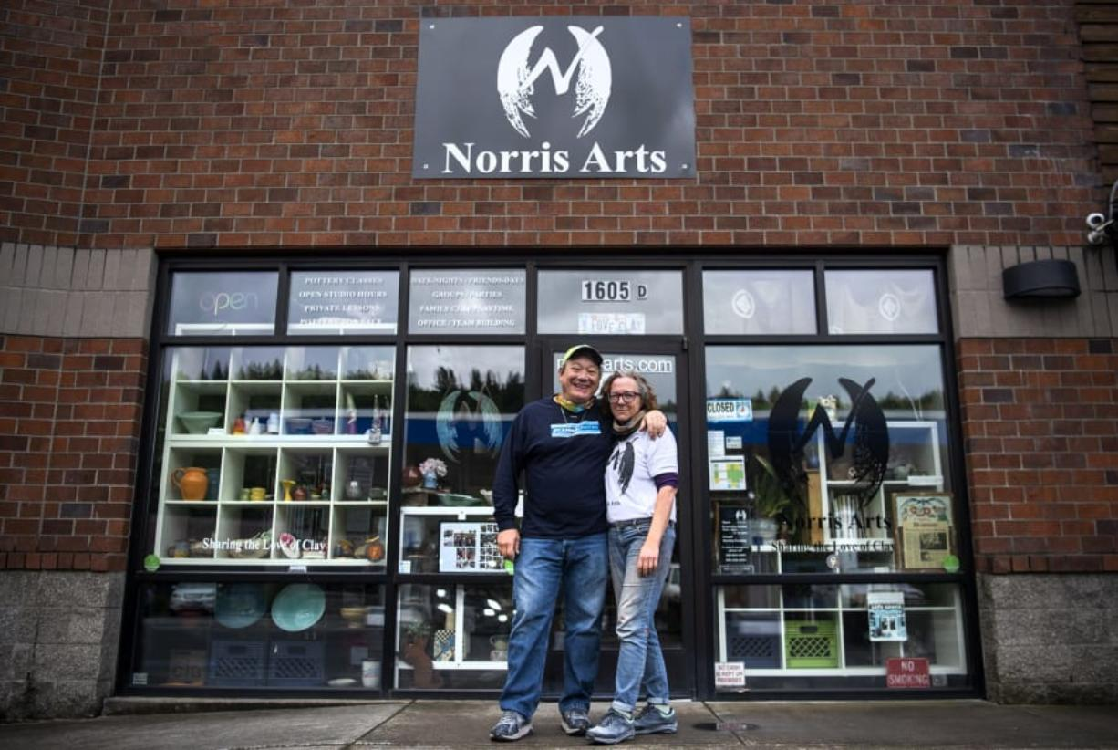 Ted and Anna Norris have closed Norris Arts Studio and Gallery in Camas for classes, but they are selling pottery supplies, renting pottery wheels and hosting Facebook Live events to sell their pottery and artwork.