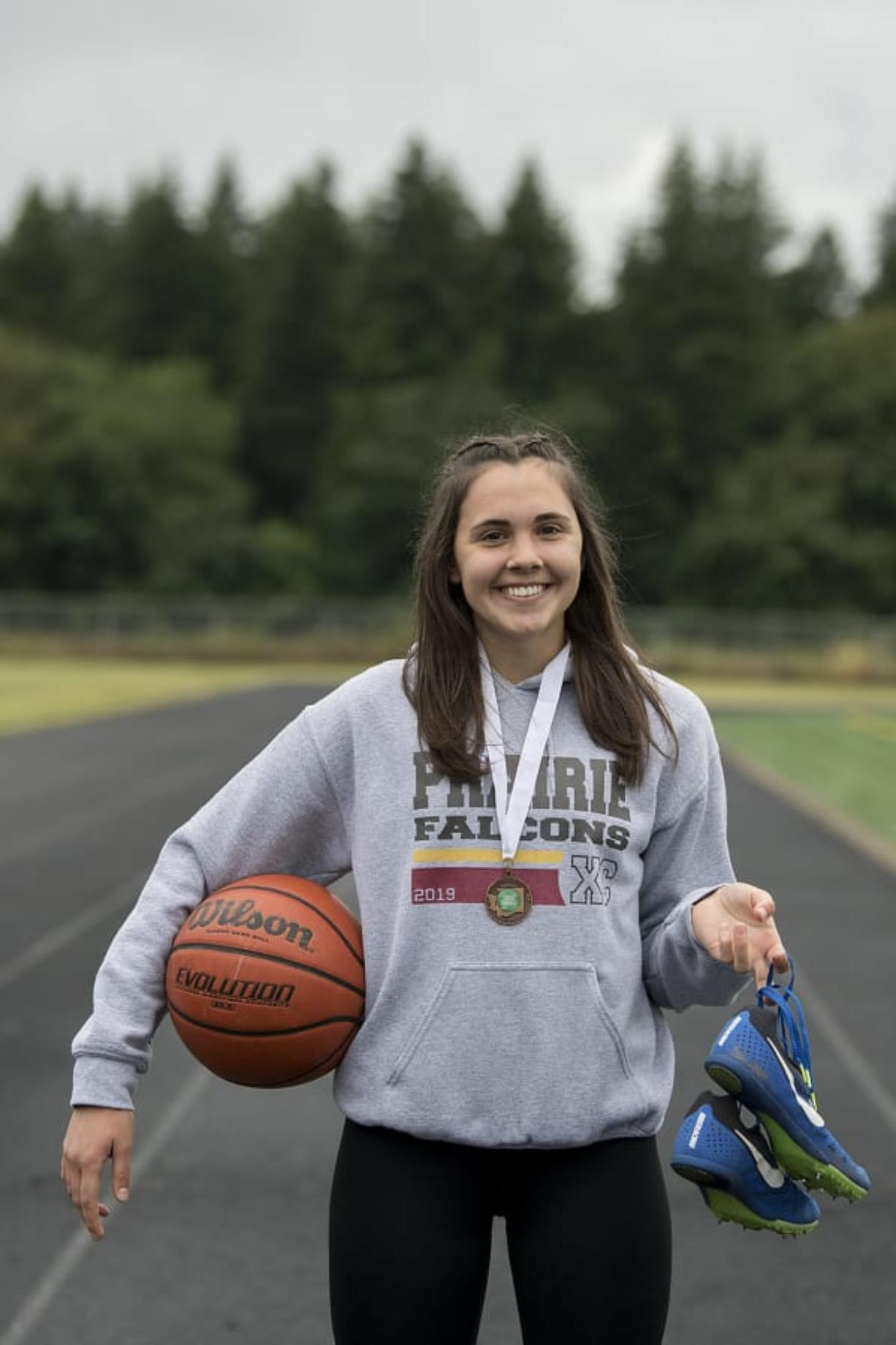 All-Region multi-sport female athlete of the year, Meri Dunford, is pictured at Prairie High School on Monday morning, June 15, 2020.