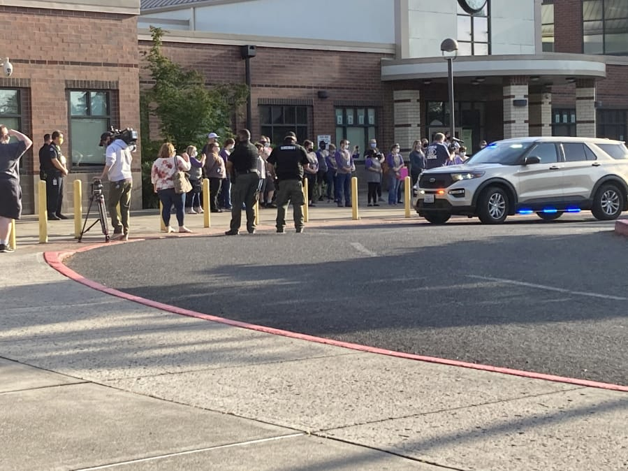 HAZEL DELL: Clark County Fire District 6 along with Clark County Sheriffis Office and 50 private vehicles participated in a symbolic drive-by at Sarah J. Elementary School on June 17. That is the site where Tiffany Hill was shot and killed by her estranged husband on Nov.