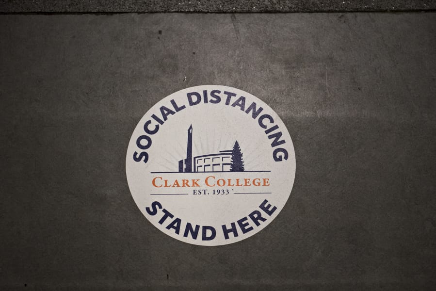 Social distancing has become a priority for students and instructors at Clark College, as seen on Wednesday morning, June 24, 2020.