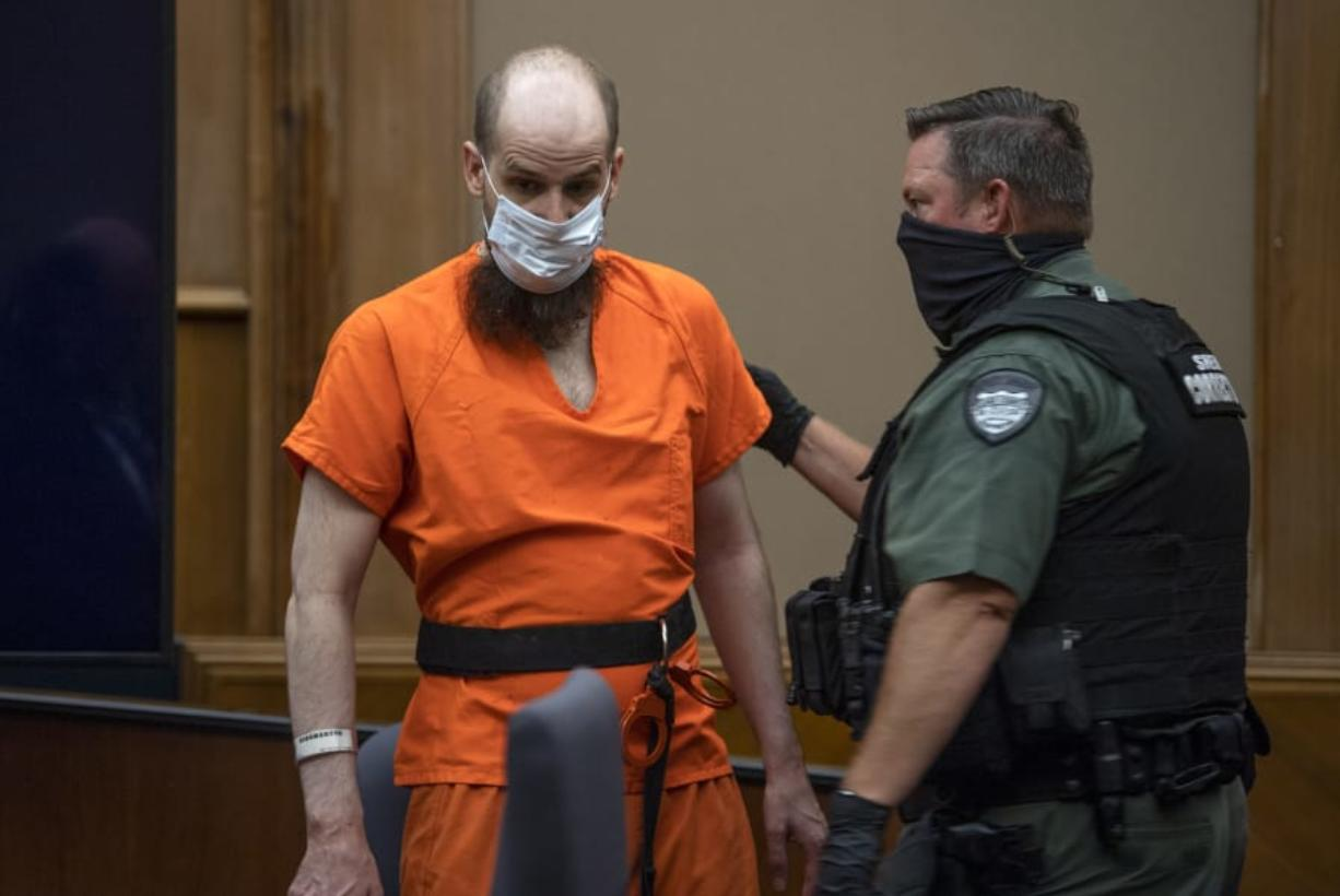 Dustin Zapel, 38, appears for sentencing in his double-murder case Friday in Clark County Superior Court. Judge John Fairgrieve handed down a 66-year sentence.